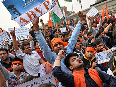 Students protest at JNU. AFP