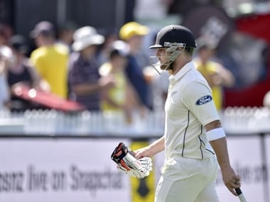 New Zealand's Brendon McCullum walks from the field after being caught during day one of the first Test between New Zealand and Australia -AFP