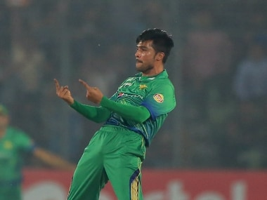 Mohammad Amir celebrates a wicket in Asia Cup match against India. AFP