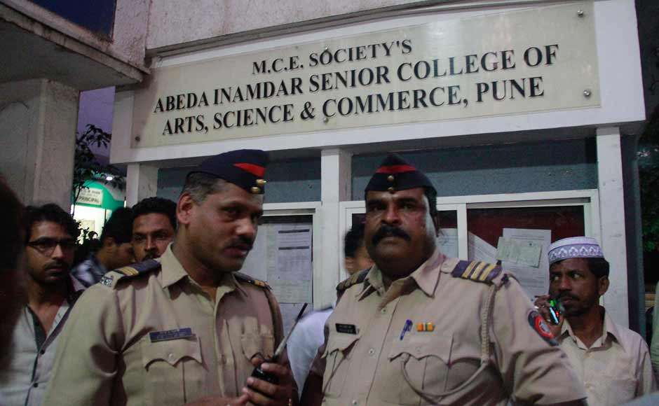 Police arrive at the Abeda Inamdar college in Pune. According to a Coast Guard spokesperson, 13 bodies were recovered while a few students are still untraced and the Coast Guard and Navy had launched operations to rescue some missing students. Solaris Images