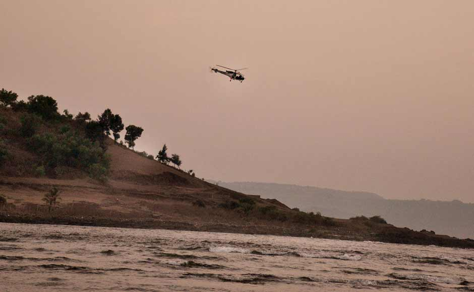A helicopter pressed into service for a search and rescue operation at the Murud beach. The Coast Guard helicopters began a fresh search mission on Tuesday morning to locate one missing student. Solaris Images