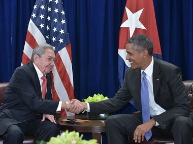 US President Barack Obama (right) and Cuba's President Raul Castro. AFP