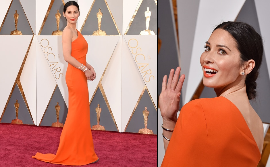 Olivia Munn's dress is so saffron, she may just join the RSS. JK, Munn proves that Orange is actually the new black. (Getty Images)