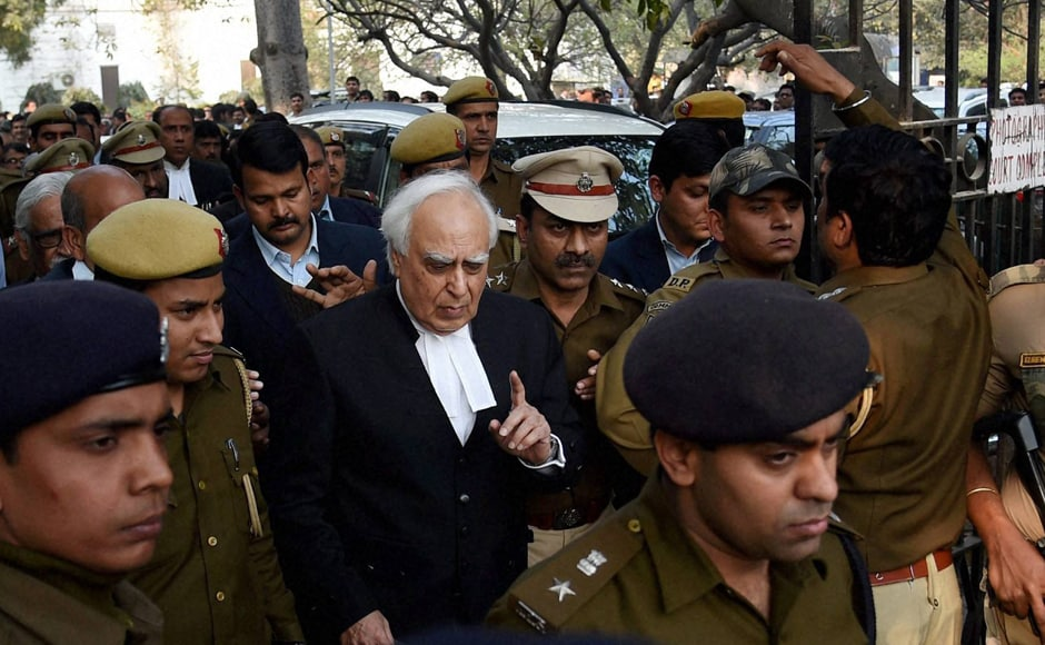 Noted lawyer Kapil Sibal leaves Patiala House Courts. PTI