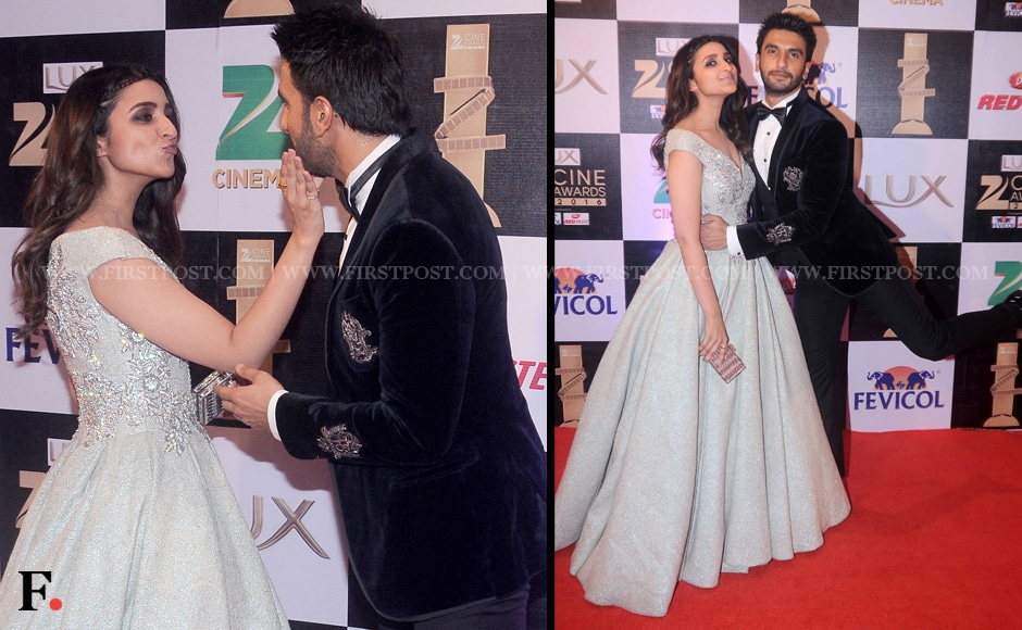 Parineeti Chopra shares a sweet moment with Ranveer Singh as they greet each other on the red carpet. They look adorable, we can't wait to see them act together! Sachin Gokhale/Firstpost