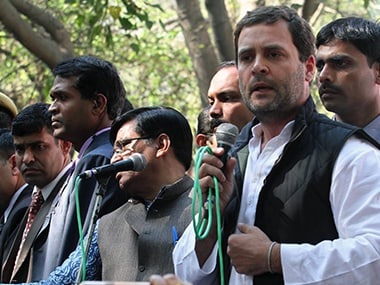 Rahul Gandhi addresses the students during a protest march in Jantar Mantar on Tuesday. Naresh Sharma/Firstpost