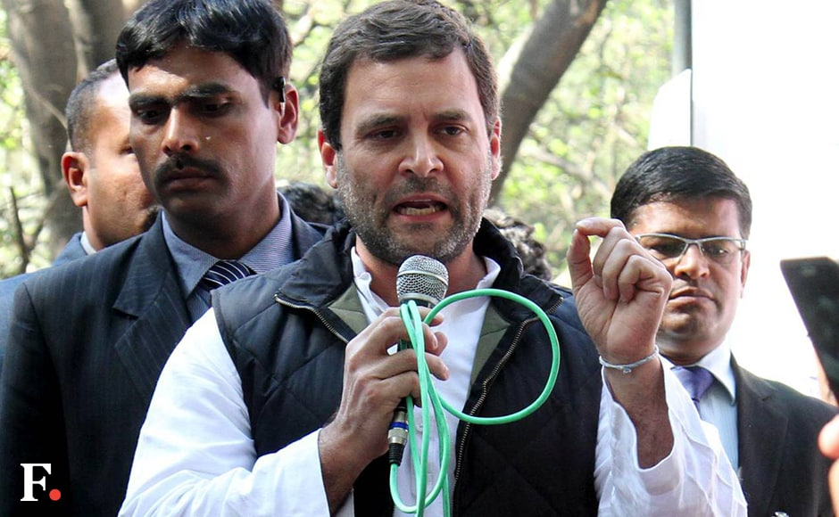 "In his address, Rahul Gandhi mounted a shrill attack on the Modi government and RSS, accusing them of crushing voices of dissent of college and university students across the country. ""We need a law to ensure that students in colleges and universities do not face discrimination and their voice is not stifled,"" he said. Naresh Sharma/Firstpost"