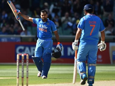 Rohit Sharma and MS Dhoni. AFP