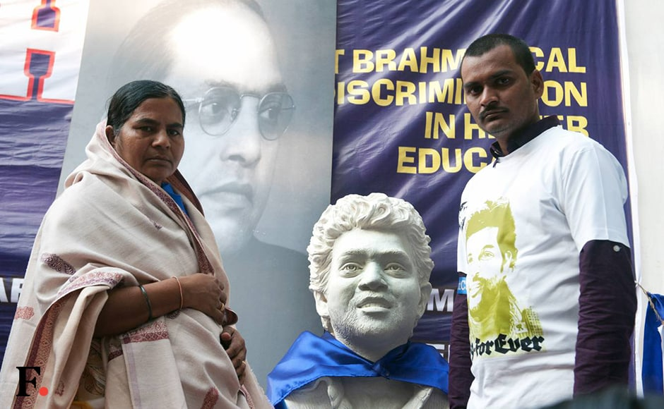 Rohith Vemula's mother Radhika and brother Raja flank a bust of the late University of Hyderabad scholar. Naresh Sharma/Firstpost