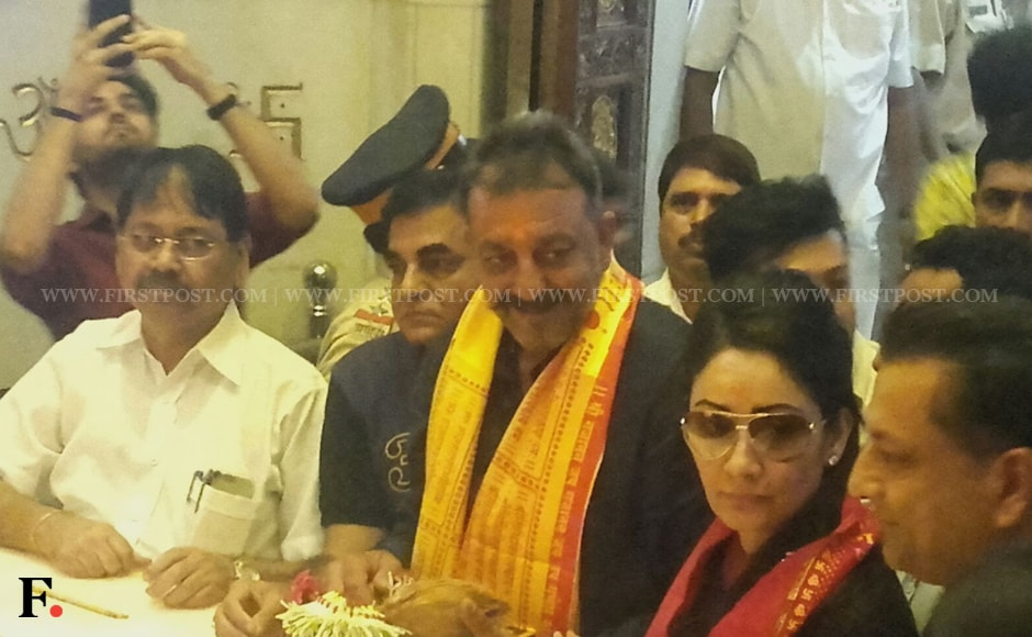 Shortly after he walked out of the jail, Sanjay Dutt drove to Pune Airport at Lohegaon to board a chartered plane to Mumbai. From the Mumbai Airport, Dutt proceeded straight to Siddhhivinayak Temple to offer prayers. Sachin Gokhale/Firstpost