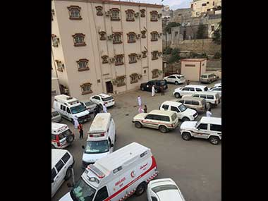 Ambulances and securities are seen outside the Ministry of Education office, located in Al-Dayer, Jazan region, Saudi Arabia. Alekhbariya via AP