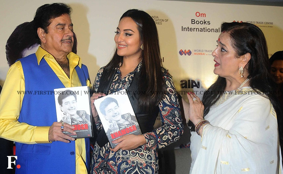"""Shatrughan Sinha with wife Poonam and their daughter Sonakshi. Poonam, said that she had to read the book to understand her actor-husband more. """"It was necessary to read the book because after reading it I felt that I didn't know this man. I wish I had known a lot of this. `The Man I Didn't Know' would be a sequel to Anything But Khaamosh,'"""" she said. Sachin Gokhale/ Firstpost"""