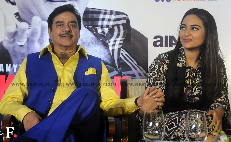 """Shatrughan Sinha shares a moment with his daughter Sonakshi. The actress read out an excerpt from his biography at the launch. However, she said that she doesn't want to read the entire book. """"I am too scared to read the book. There are certain things in a parent's life that the child just should not know,"""" said Sonakshi. Sachin Gokhale/ Firstpost"""