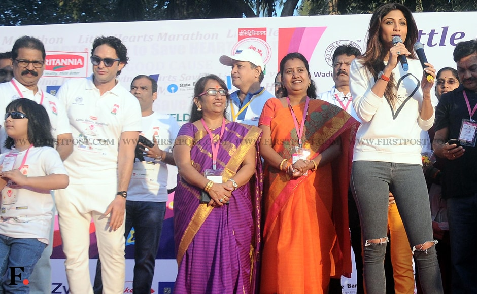 Shilpa Shetty at the Little Hearts Marathon, organised by Sidhdhivinayak Temple and Wadia Hospital. Sachin Gokhale/Firstpost