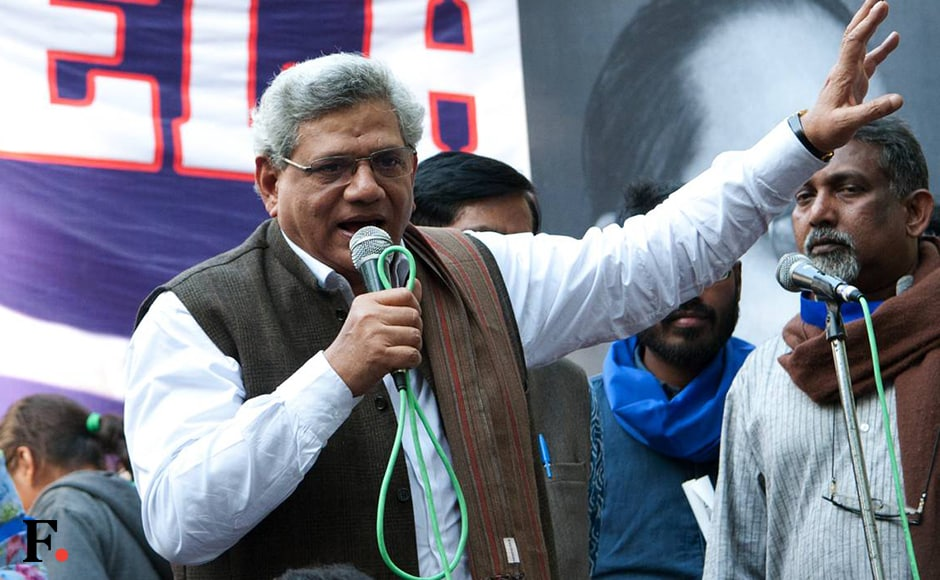 Sitharam Yechury addressed the crowd at Jantar Mantar. Naresh Sharma/Firstpost