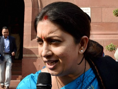 Smriti Irani lashed out at Rahul Gandhi over the Rohith Vemula suicide issue. PTI