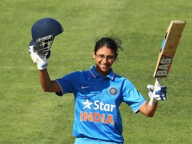 Smriti Mandhana of India celebrates after reaching her century in the 2nd ODI. Getty