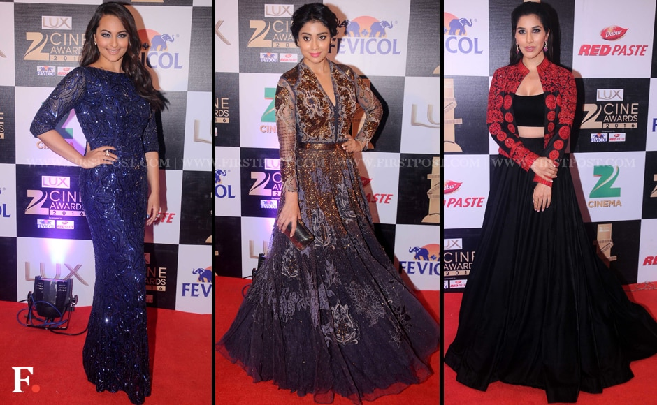 Sonakshi Sinha, Shriya Saran and Sophie Choudry on the red carpet at the Zee Cine awards 2016. Along with giving an energetic dance performance, Sonakshi Sinha also co-hosted the award show.   Sachin Gokhale/Firstpost