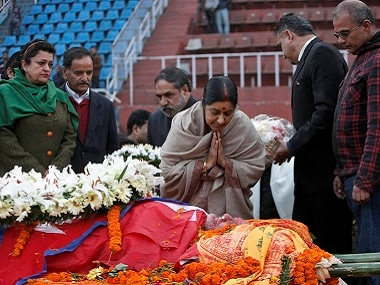 Minister for External Affairs Sushma Swaraj pays her respects to former prime minister of Nepal, Sushil Koirala, at the national stadium in Kathmandu. PTI