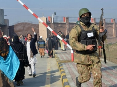 File image of Pakistani army soldiers in a search operation at the Bacha Khan University on 20 January. AFP