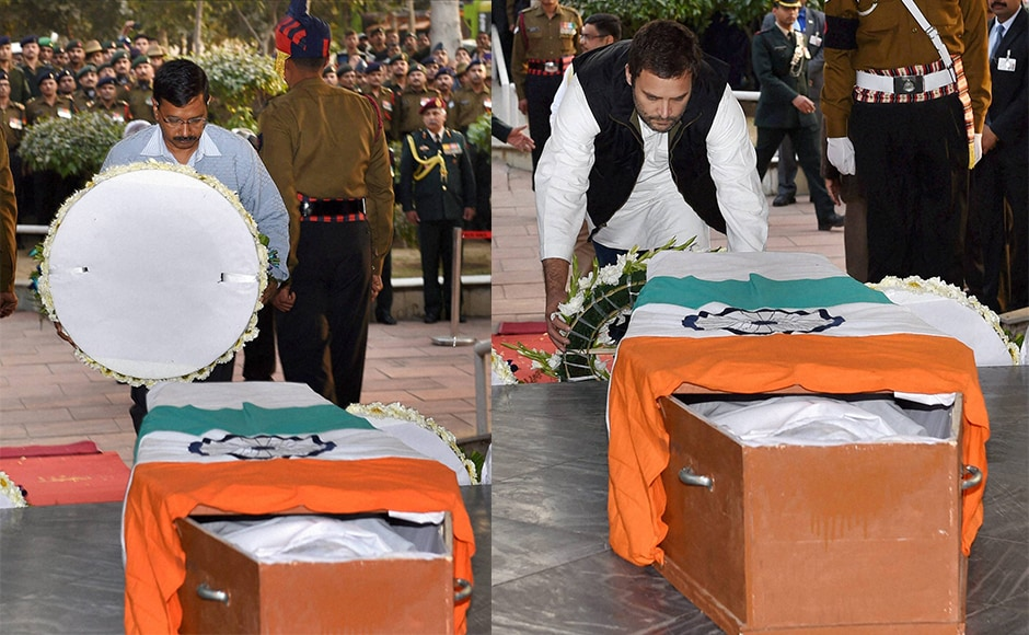 Delhi Chief Minister Arvind Kejriwal and Congress vice president Rahul Gandhi pay their tributes to Lance Naik Hanumanthappa Koppad. Koppad was one of the 10 soldiers buried at Siachen when an avalanche hit their army post on 3 February. He was initially presumed dead but was found alive six days later. PTI