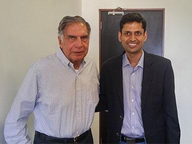 Ratan Tata and Rahul Garg, Founder and CEO, Moglix
