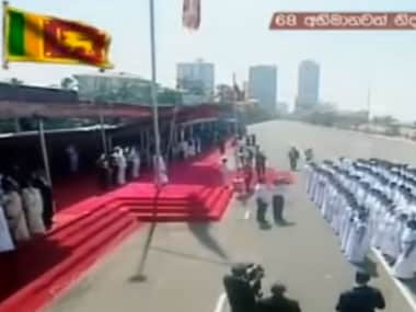 A screengrab from the video of the event where the Sri Lankan national anthem was sung in Tamil. Image courtesy: Hiru TV