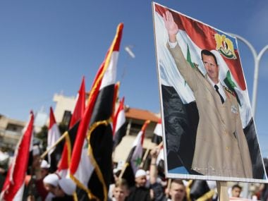 Druze residents of the Buqata village protest against Syrian President Basshar al-Assad. AFP
