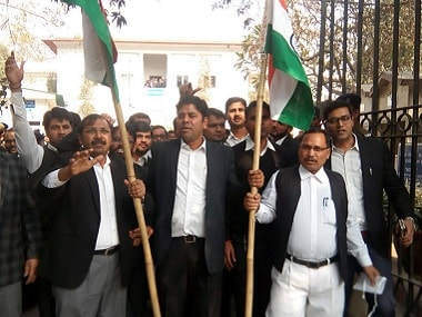 Lawyers at Patiala House Court. Firstpost/Tarique Anwar