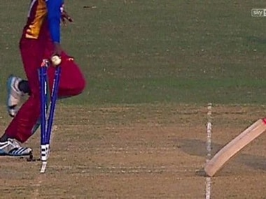 The mankad incident at U-19 World Cup game between West Indies and Zimbabwe. Image courtesy: Twitter