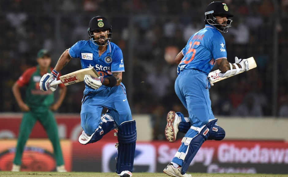 Chasing a target of 121 in a match reduced to 15-overs-a -side, Dhawan came good when it mattered the most as he hit nine fours and a six adding 94 runs with Virat Kohli (41 not out) with India winning with seven balls to spare. AFP