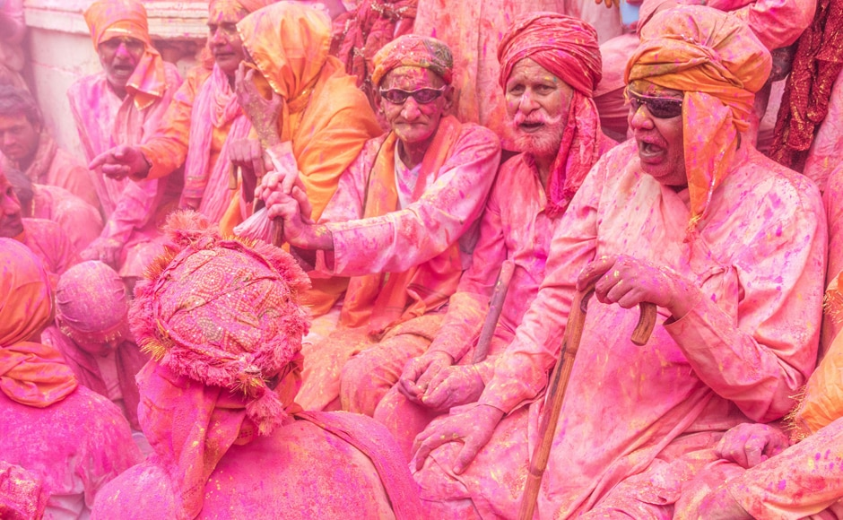 Looks like the elderly at the Barsana village too had their share of fun during the Lathmaar Holi festival. AFP