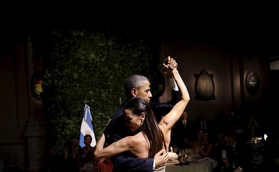 The state dinner was hosted at the Centro Cultural Kirchner as part of President Obama's two-day visit to Argentina, in Buenos Aires. Reuters