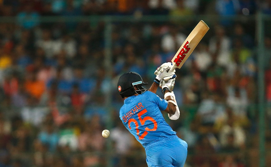 Cricket - India v Bangladesh - World Twenty20 cricket tournament - Bengaluru, India, 23/03/2016. India's Shikhar Dhawan plays a shot. REUTERS/