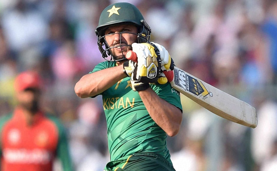 Shahid Afridi plays a shot during his innings of 49 off 19 balls. PTI
