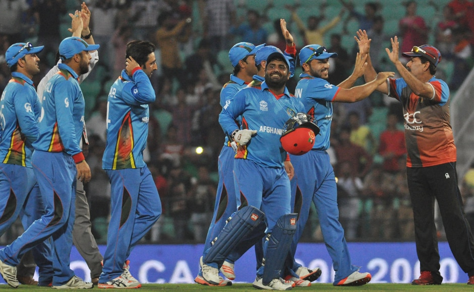 Afghanistan's enthusiastic celebrations prompted a smile from the West Indies team as well. Solaris Images
