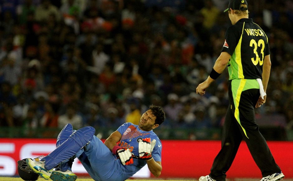 Yuvraj Singh was on 5 in a score of 54 for 3 from 8.2 overs when he hopped on to the back foot to handle a short-pitched delivery and injured his leg. He was on five from two balls at the time of injury was finally dismissed for a personal score of 21 from 18 balls. Solaris Images