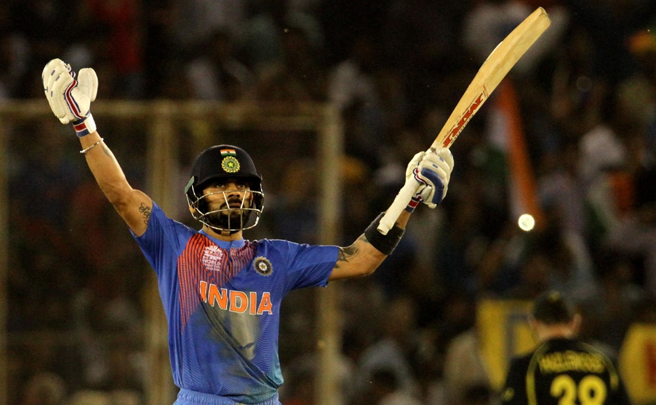 Chief architect of the win, Virat Kohli played a masterful innings against the Aussies to help India qualify for semi-finals of ICC World T20. Solaris Images