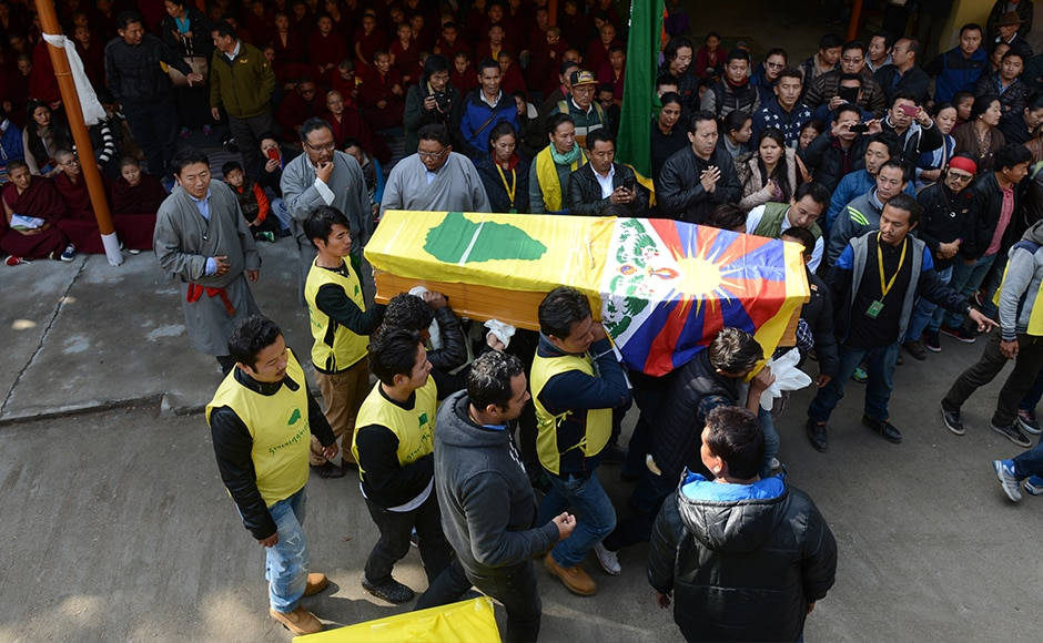 Hundreds of grieving Tibetans on Sunday joined the funeral procession for 16-year-old schoolboy Dorje Tsering who died after setting himself on fire to protest against Chinese rule. Tsering died from cardiac arrest on Thursday after setting himself ablaze at a housing settlement for Tibetan refugees in Dehradun. Tsering's body was Saturday brought to Dharamsala. AFP