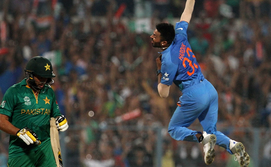 Indian player Hardik Pandya celebrates the wicket of Pakistan captain Shahid Afridi during the ICC Twenty20 World Cup match played between Indian and Pakistan at the Eden Garden Stadium in Kolkata, India on March 19, 2016. Getty Images