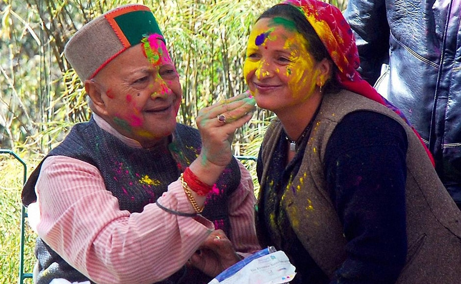 Himachal Pradesh Chief Minister Virbhadra Singh celebrated Holi in Shimla on Thursday. PTI