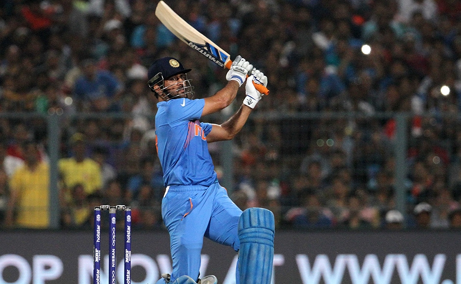 Indian captain MS Dhoni plays a shot during the ICC Twenty20 World Cup match played between Indian and Pakistan at the Eden Garden Stadium in Kolkata, India on March 19, 2016. Getty Images