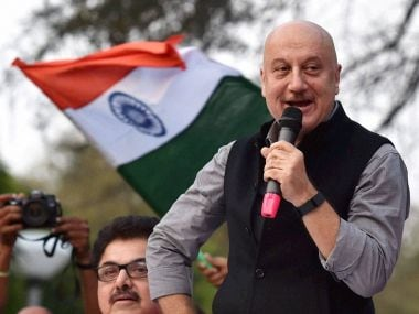 Actor Anupam Kher addresses students at JNU campus on Friday. PTI