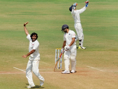 Abhishek Nayar (left) in action on Day 3 of the Irani Trophy match between Mumbai and Rest of India at the Brabourne Stadium in Mumbai. PTI