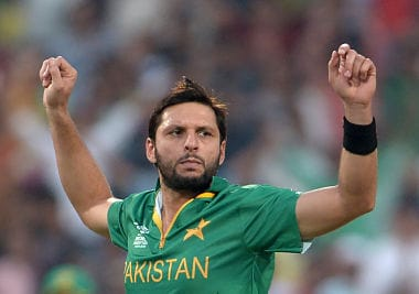 Pakistan's captain Shahid Afridi during the game against Bangladesh. AFP