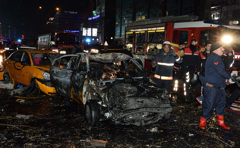 Emergency services gather at the scene of the explosion in Ankara's central Kizilay district on 13 March. The Ankara governor's office has reported that at least 27 people have been killed and 75 wounded in an explosion in the Turkish capital Ankara. The explosion is believed to have been a car bomb attack according to Ankara governor Mehmet Kiliclar. Getty Images