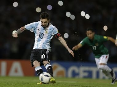 Argentina's Lionel Messi strikes that ball to score a penalty against Bolivia during a 2018 World Cup qualifying match. AP