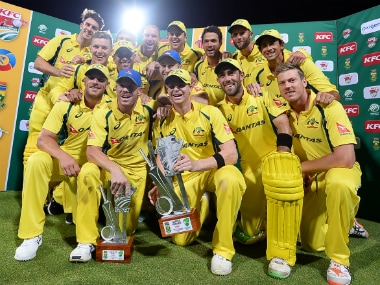 The Australian team with the winner's trophy after beating South Africa by six wickets in the final T20I. Getty Images
