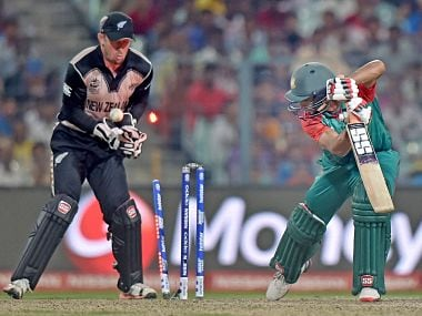 Bangladesh batsman being bowled in the game against New Zealand on Saturday. PTI