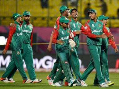 Bangladesh players celebrate after their victory over Netherlands. PTI